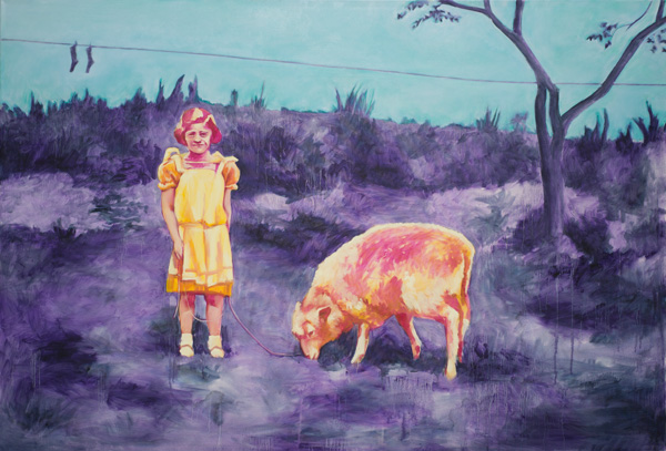 Das Mädchen und das Schaf. 2013. Öl auf Leinwand. 200x135cm