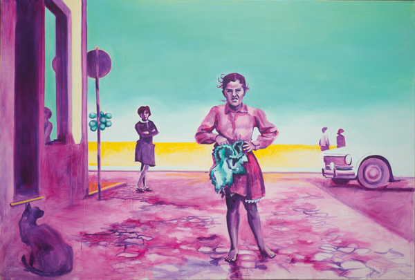 Mädchen an der Straße. 2013. Öl auf Leinwand. 200x135cm